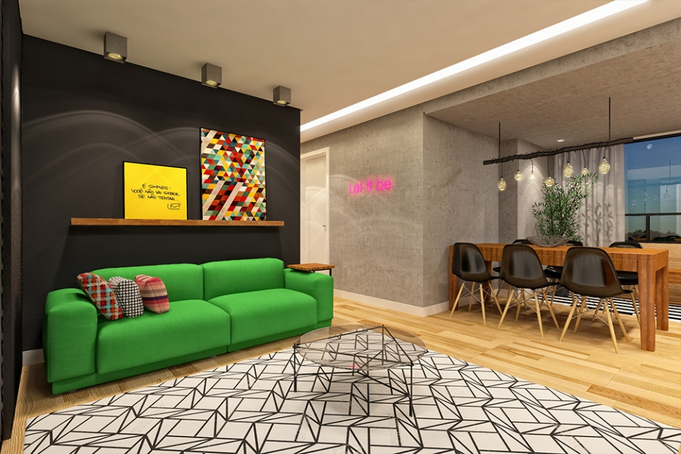 pisos de concreto sala de estar Apartamento Casa Amarela II Projetos Elementar